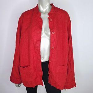 Liz Claiborne Red Linen Jacket Plus Size 3X